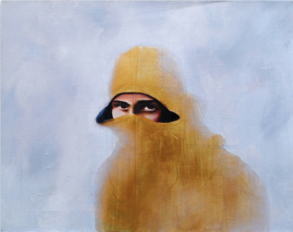 Tatyana Fazlalizadeh, Rioter, Oil on Canvas, 2011