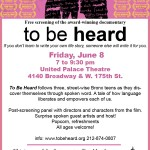 The United Palace Presents A Free Screening of To Be Heard This Friday
