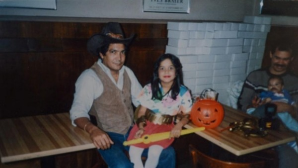 Ms. Martinez and her father on Halloween.
