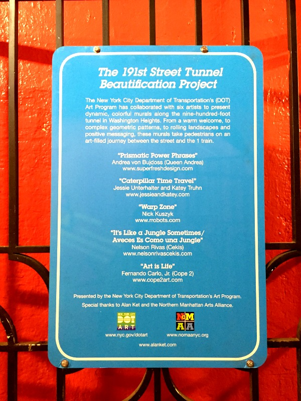 191 Street Tunnel - Washington Heights - Plaque