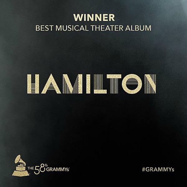 Hamilton Best Musical - Grammys